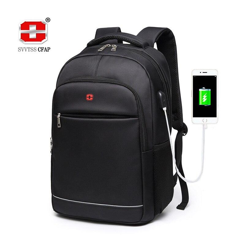 Charging USB Teens School Bags For Teenage Boys Laptop Backpack Men Nylon Black Solid High Quality Student SchoolBag BookBag