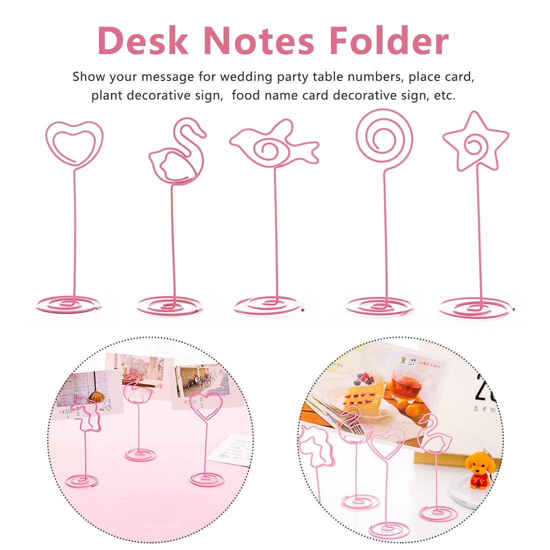 Desk Notes Folder  Heart Shape Clips Wedding Favors Place Card Holder Table Photo Clips