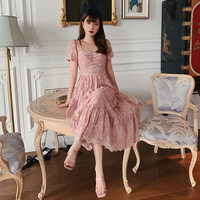 LYNETTE'S CHINOISERIE Summer Romantic French Royal Vintage Slim Waist Exquisite Flower Embroidery Elegant Dresses