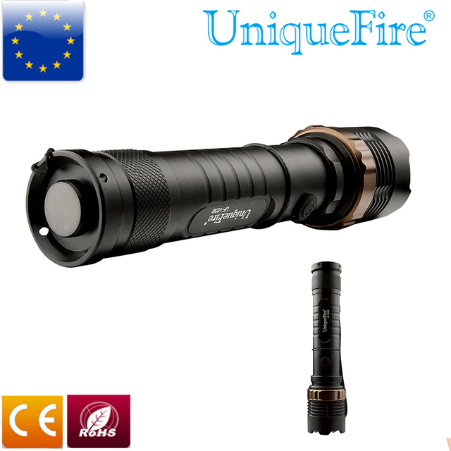 UniqueFire 3 Mode UF-V23B  T6 LED Flashlight Convex Lens Torch Middle Button Switch Led Lanterna Rechargeable Battery Lamp