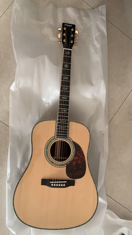 En gros nouveau personnalisé 41 # guitare acoustique 45 en bois massif véritable perle incrustation et reliure 190118