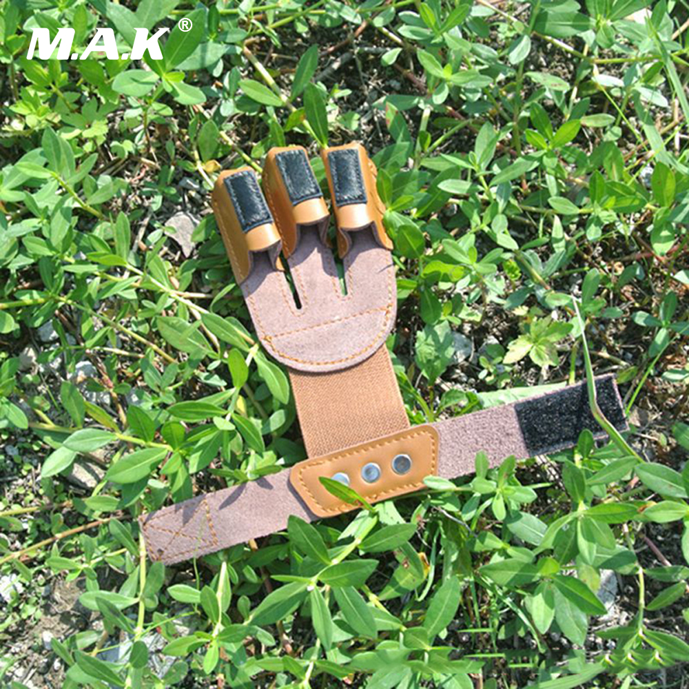 Cow Leather 3 Finger Guard Protector with Horse Hair Tips for Mediterranean Release Archery Hunting Shooting
