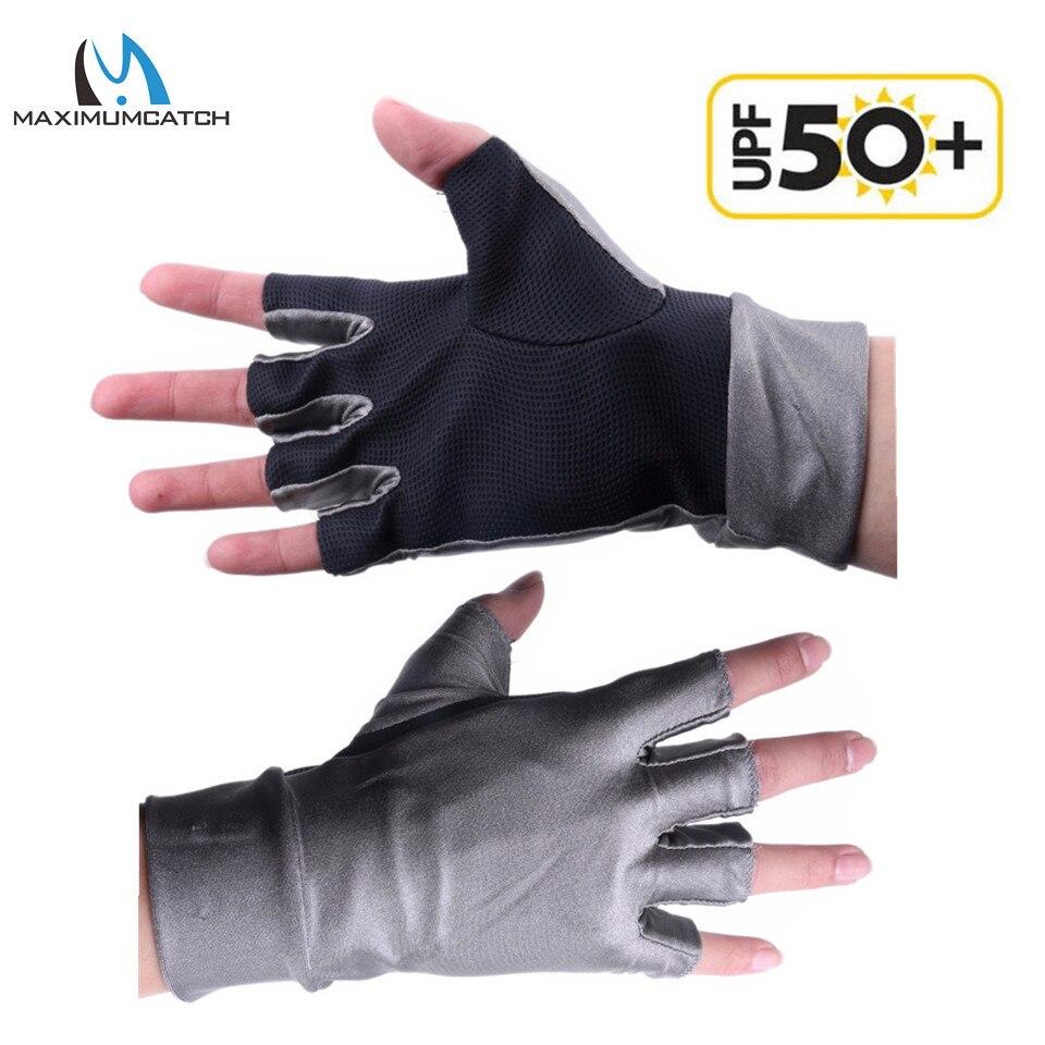 Maximumcatch 1pair half finger uv protection lycra sun for Fishing sun gloves