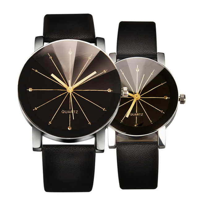 2Pcs Couple Watches Simple Trendy Sun Ray Pattern Round Dial Fashion Quartz Watc