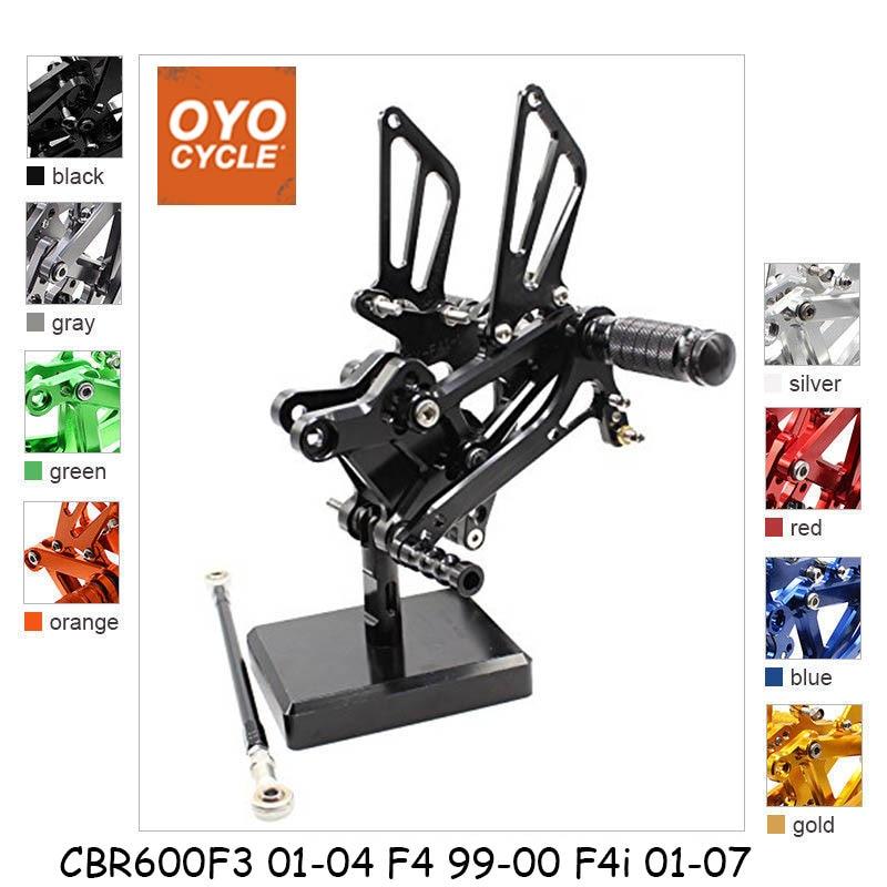 For 01-07 Honda CBR600 F4I CBR 600 CNC Aluminum Adjustable Rear Set Foot Pegs Pedal Footrest Rearset Motorcycle Part 2001-2007 цена