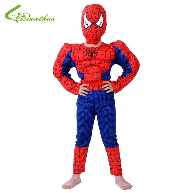 Boys Halloween Costumes Spider-Man Sets Cosplay Stage Wear Clothing Muscle <font><b>Spiderman</b></font> Children Kids Party Clothes Free Drop Ship