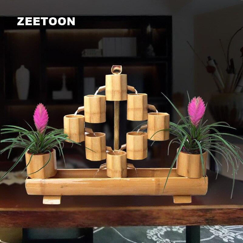 Винтаж бамбука фонтан двойной горшок ваза Desktop Украшения аквариум фэн шуй Lucky Домашний Декор Бизнес Маскоты подарок