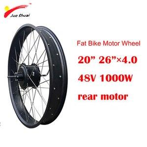 Alta velocidade 48 v 1000 w motor do cubo da roda elétrica traseira do motor pneu gordo 20
