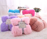 Fluffy Plush Fleece Blankets for Bed Soft Throw Blanket Air Conditioning Manta Solid Bedspreads Cobertor Girl Wedding 48