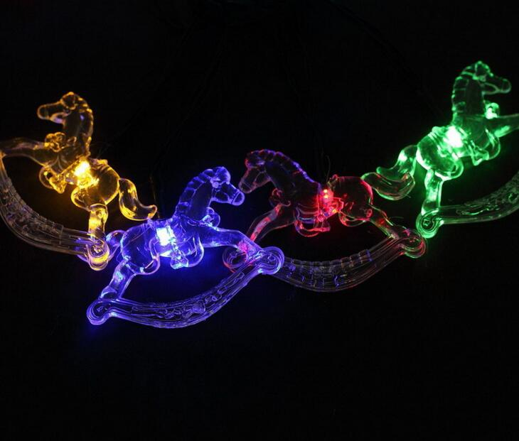 2pcs Solar Power LED Carrousel Lamp Light multicolour String Strap For Garland Wedding Christmas Venue Decoration