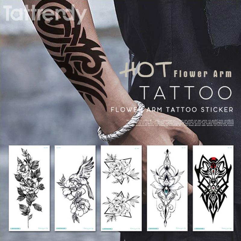 Temporary Tattoo Sticker For Men Shoulder Tattoos Black Sketches Tattoo Designs Shoulder Arm Sleeve Tattoo Fake Boys Body Art