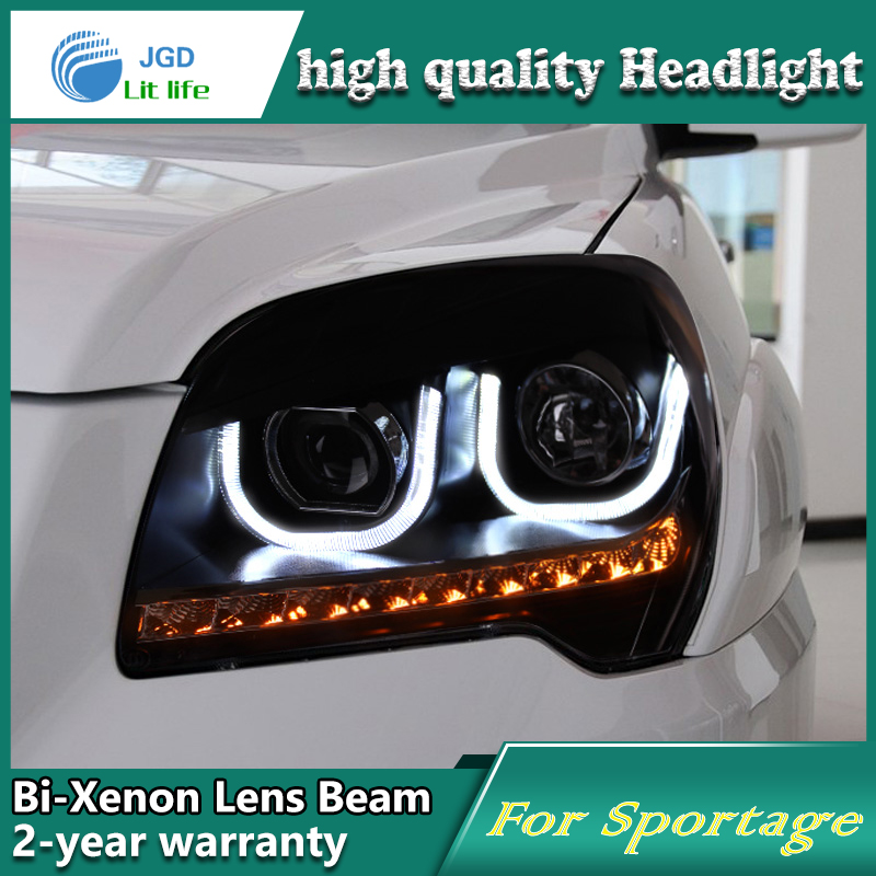 high quality Car Styling case for KIA Sportage 2009-11 Headlights  LED Headlight DRL Lens Double Beam HID Xenon Car Accessories high quality car styling case for mitsubishi lancer ex 2009 2011 headlights led headlight drl lens double beam hid xenon