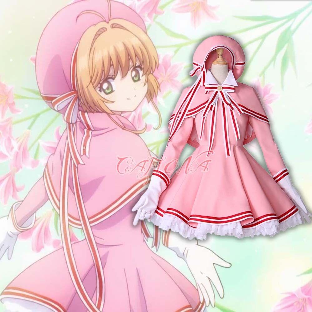 Cafiona новая карточка Captor Сакура КИНОМОТО Сакура красивый костюм для косплея девочек розовое платье на заказ