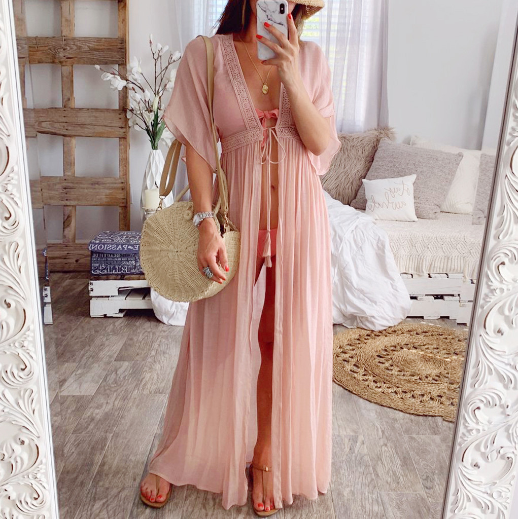 2019 Summer Solid Lace Beach Cover Up Long Cardigan Lace Up Swimwear Beach Dress Kaftan Beach Wear Swimsuit Pareo Saida De Praia