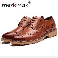 Merkmak Casual Brogue Men Shoes's Fashion Comfortable Breathable Business Dress Footwear Man Flats Outdoor Sneakers Drop Ship