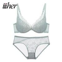 Iiiher Women Sexy Women Bras Deep V Lace Decro Underwire Bra Set Push Up Solid Bra