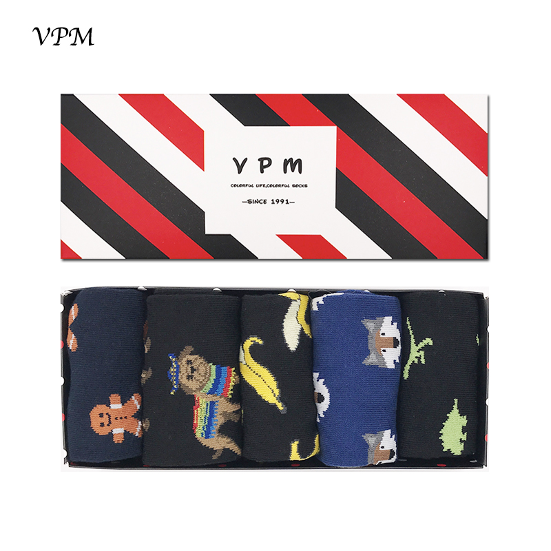VPM Mens Cotton Long Socks Black Funny Happy Harajuku Banana Dino Dog Wolf Business Dress Hip Hop for Men Gift Box 5 Pairs/Lot ...