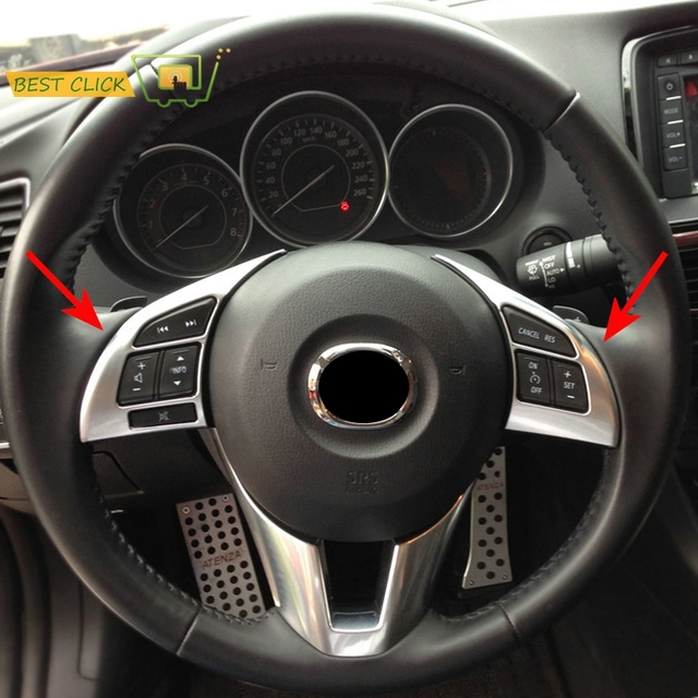 Fit For Mazda 3 M3 Axela 2014 2015 2016 Chrome Interior Steering Wheel  Panel Cover Trim