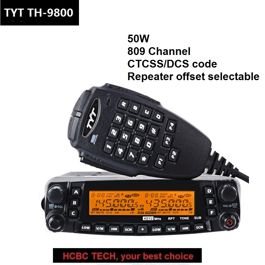 50 KM TYT TH-9800 Plus Walkie Talkie Quad Band 50W Car Mobile Marine Radio Station 809CH TYT TH9800 TH 9800 Repeater Scrambler 50 KM TYT TH-9800 Plus Walkie Talkie Quad Band 50W Car Mobile Marine Radio Station 809CH TYT TH9800 TH 9800 Repeater Scrambler