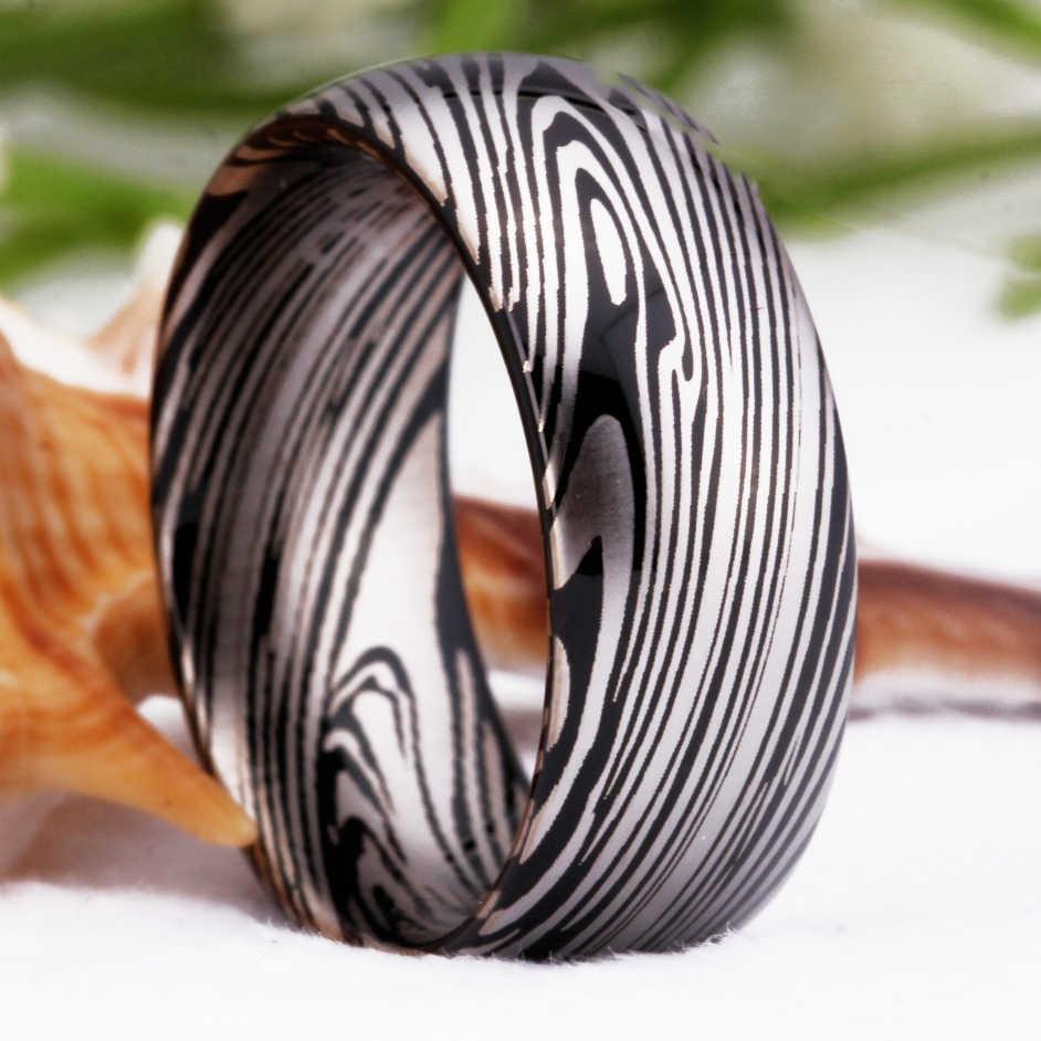 גברים של טבעת בסיסית 100% טונגסטן טבעת עבור נשים חתונה קלאסי תכשיטי דמשק פלדת דפוס אירוסין מסיבת טבעת Comfort Fit