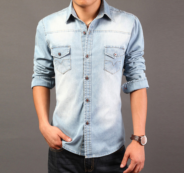 7772a2047e3 New 2015 men shirt soft stretchable stone washed denim shirt men jeans  jacket XXXL for male Free shipping