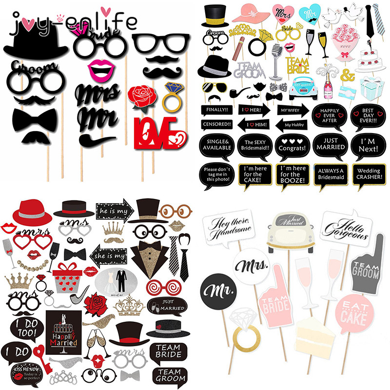 Wedding Decoration Mr Mrs Just Married Photo Booth Props Bridal Shower Bachelorette Party Wedding Party Photobooth Supplies