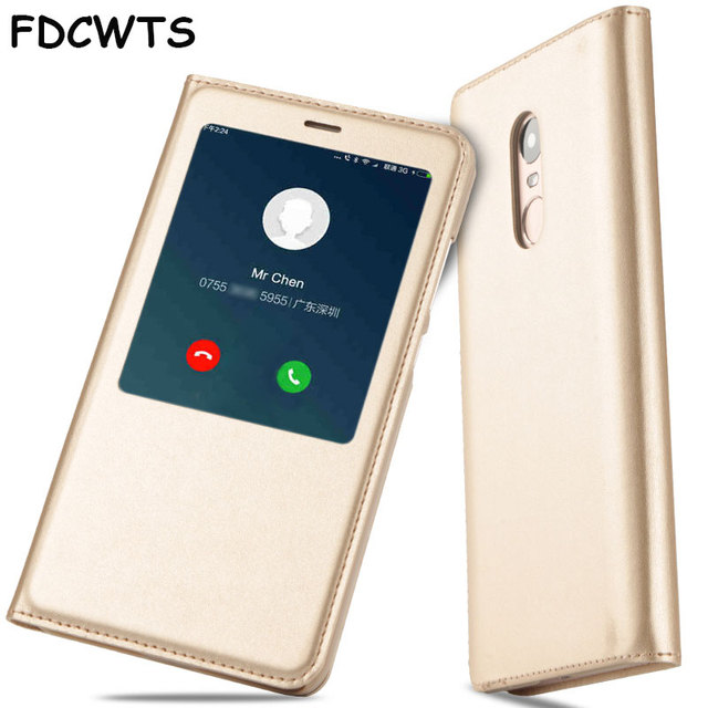 FDCWTS for Xiaomi redmi pro case Open Window Flip Cover PU Leather Case capa for Redmi pro smart cover sleeping case