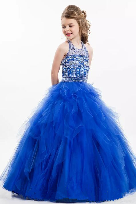 Royal Blue Shiny Beaded Little Girls Pageant Dresses 2017 Princess Kids Party Gowns Ball Gown Size 2-16