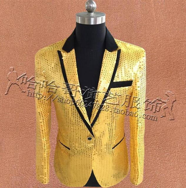 Yellow Sequins Blazer Men Suits Designs Homme Terno Stage Costumes For Singers Jacket Mens Clothes Dance Star Style Fashion