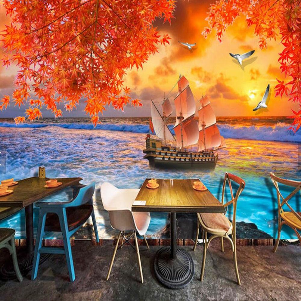 Bateau mur papier promotion achetez des bateau mur papier for Papier peint ecran