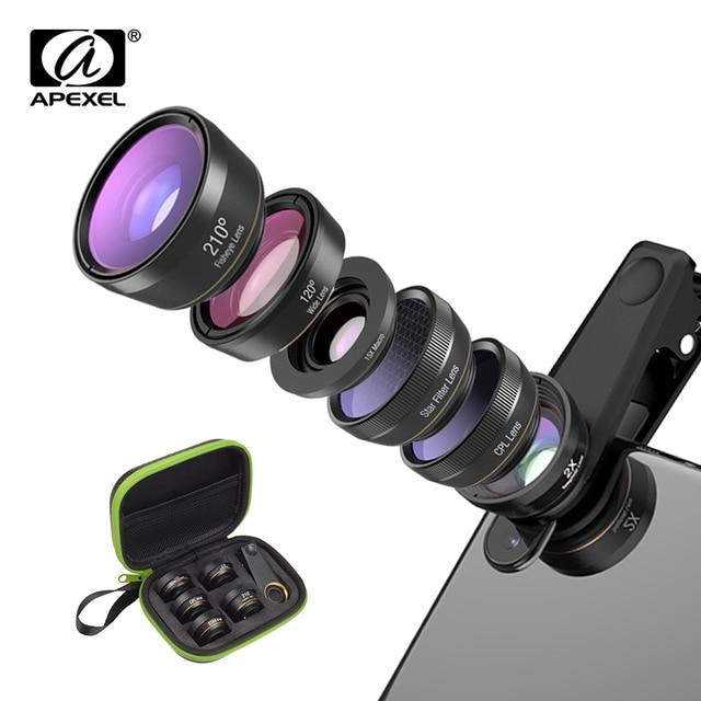 APEXEL 6 in 1 Phone Camera Lens Fisheye Lens Wide Angle macro Lens CPL Star Filter 2X telescope for Samsung Huawei all phones