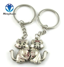 MINGXUAN 1Pair Couple Keychain Cats Key Ring Silver Plated Lovers Love Key Chain Souvenirs Valentine's Day gift C427
