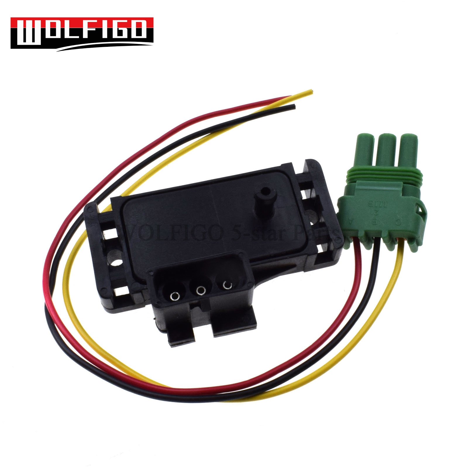 wolfigo new 1 bar map sensor with pigtail connector plug wire 16040749 12223861 for chevy [ 1600 x 1600 Pixel ]