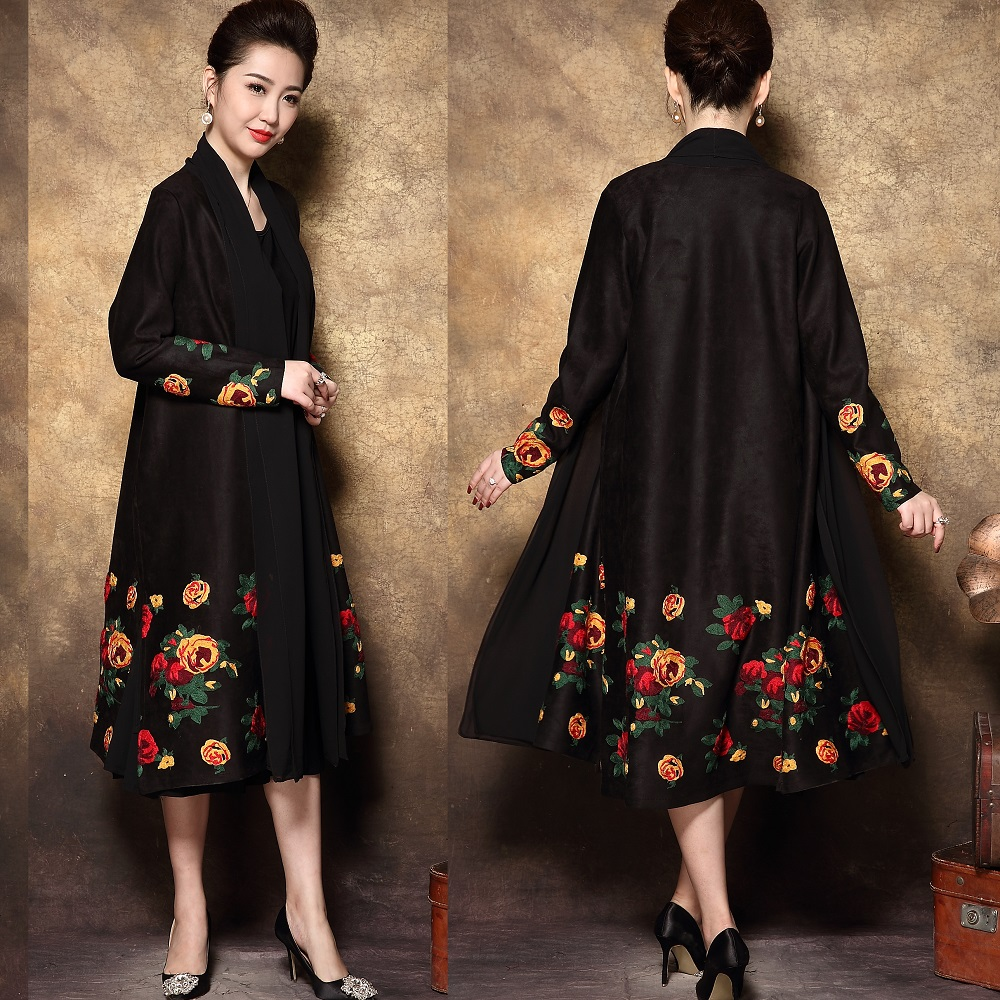 Detail Feedback Questions about Chinese style Elegant Mother occasional  long dress set retro Floral Embroidery dress middle age ladies party dress  Plus ... a2de43830751