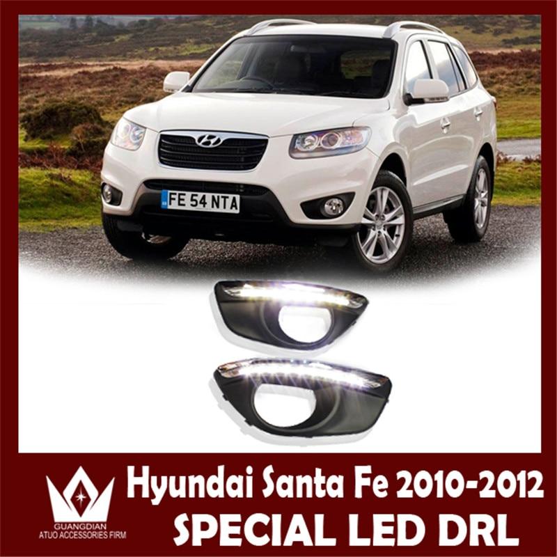 Night lord Dimming function DRL For Hyundai Santa Fe DRL 2011 2012 Daytime running light fog light Car LED DRL Free shipping