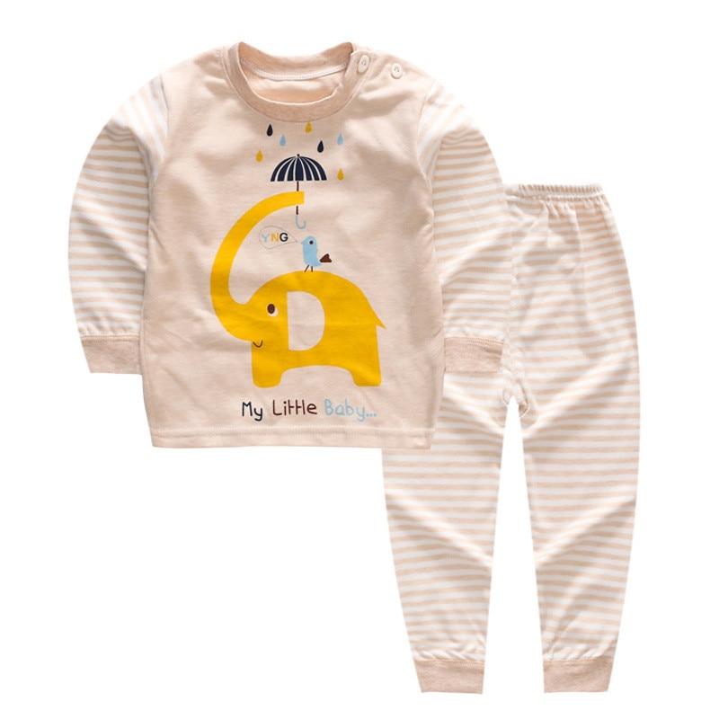 BibiCola Spring Children Clothes Sets Baby Girls Boys Suits Cartoon Pajamas Cotton T Shirt+Pants Infant Kids Casual Sleepwear