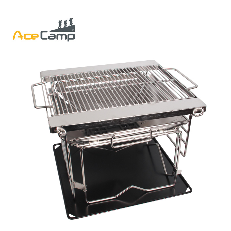 AceCamp  Stainless Steel Charcoal BBQ Grill Outdoors Camping Picnic Folding Premium Mini Portable Tableware Free Shipping ru aliexpress com мотоутка