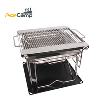 AceCamp Stainless Steel Charcoal BBQ Grill Outdoors Camping Picnic Folding Premium Mini Portable Tableware Free Shipping