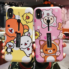 Cute Cartoon Bear cat For iphone 6 6S XS Max XR Silicon Ring Stand Holder Phone Case 8 7 Plus Cover X Capa