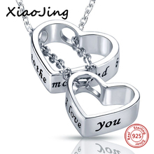 XiaoJing New arrival 925 sterling silver double love heart pendant chain necklace diy fashion jewelry making for women gifts