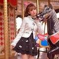 Принцесса сладкий тартан пальто Конфеты дождь лук украшение вышивка круглый воротник ногтей шарик Японский дизайн C16CD5954