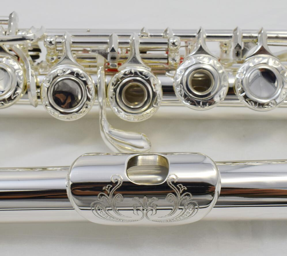 Beautiful Engraved Flute 17 Open Holes With E Split Silver Body Gold Key And Silver Plated C Tune Flute Music Performance