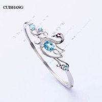 CSJ natural topaz bangle sterling 925 silver bracelets gemstone fine jewelry for women party gift
