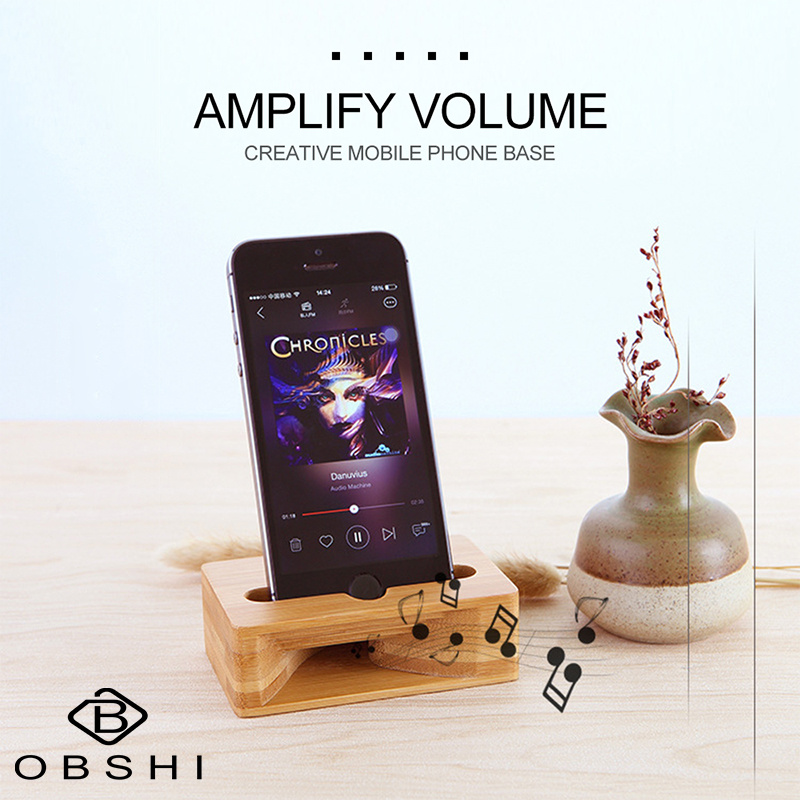 Loudspeaker-Speaker Wooden-Holder Bamboo-Bracket Support Desktop-Stand Sound-Amplifier