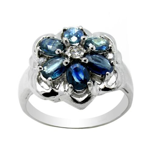 купить 2017 Qi Xuan_Fashion Jewelry_Dark Blue Stone Luxury Flower Rings_S925 Solid Sliver Fashion Rings_Manufacturer Directly Sale онлайн