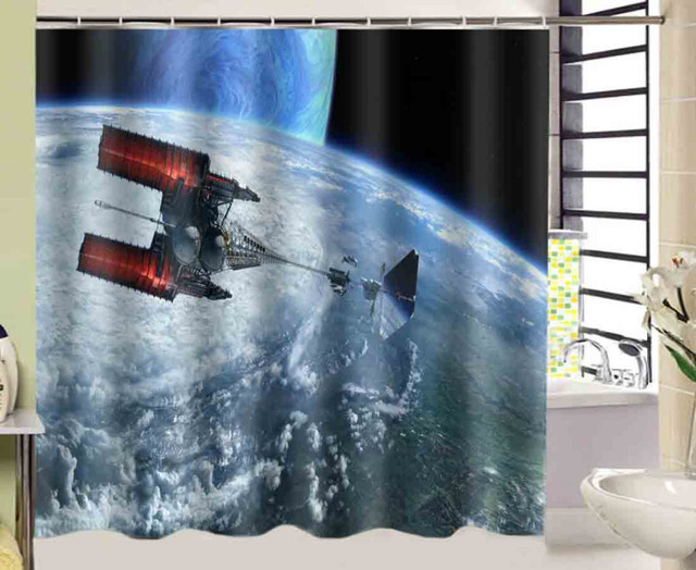 Planeet Sterren Solar Zeil Ruimteschip Douchegordijn 180*180 cm ...