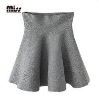 MISS 2016 High Waist Pleated Mini Skirt Winter Knitted Short Black Plaid Skirt