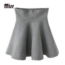 MISS 2016 Spring High Waist Flared Pleated Mini Skirt For Women Slim Knitted Elastic Short Black