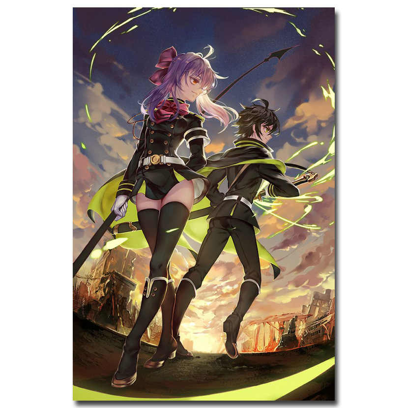 NICOLESHENTING Seraph de la fin Shinoa Art affiche en soie impression 13x20 24x36 pouces Anime photos pour salon décor 002