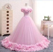 Розовое платье принцессы quinceanera с открытыми плечами цветочным